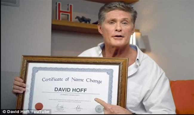 David Hasselhoff cambia nome in David Hoff
