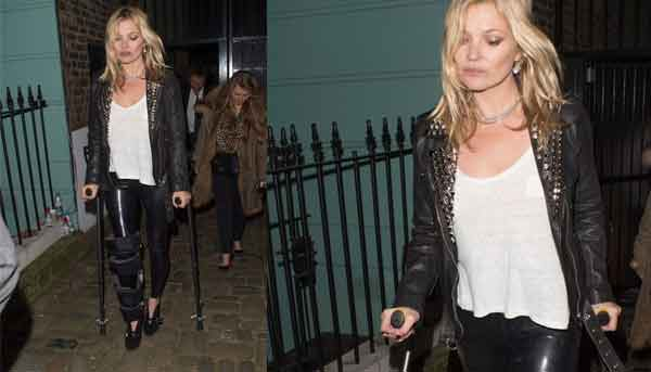 Kate Moss anche con la gamba rotta Fashion Week
