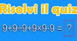 Test matematico Hai 10 secondi per risolvere il quiz