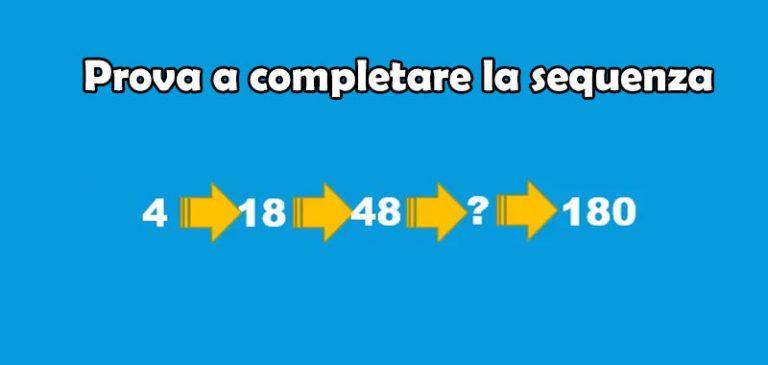 Prova a completare la sequenza numerica