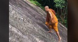 TikTok incredibile monaco buddista cammina sfidando la forza di gravita