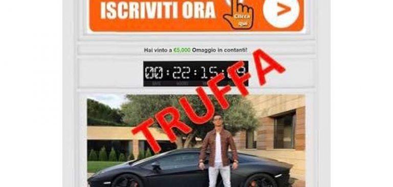 La truffa dei 5000 euro vinti con l'immagine di Cristiano Ronaldo