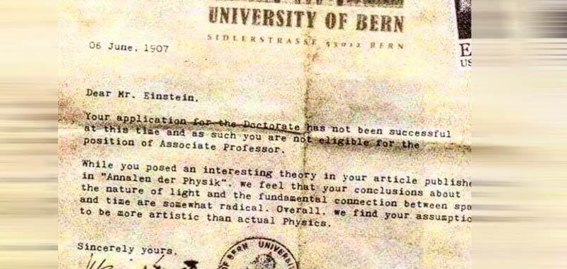 Albert Einstein critiche su lettera del professore che lo aveva respinto