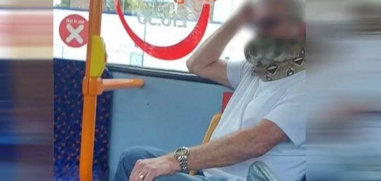 Indossa un serpente al posto della mascherina, diventa virale