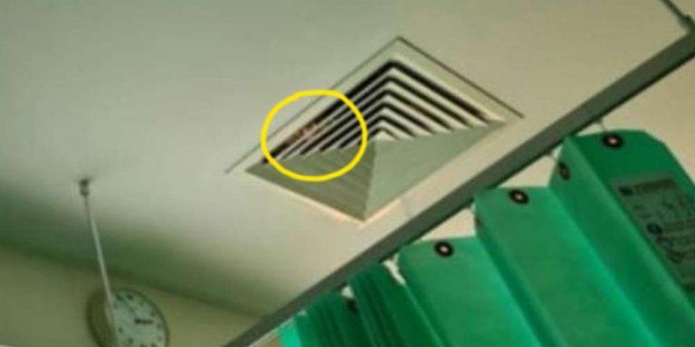 Paziente in ospedale rabbrividisce dopo aver osservato il condotto di ventilazione